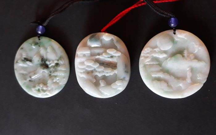 3 carved Chinese landscape pendants - China - Modern, jade not tested