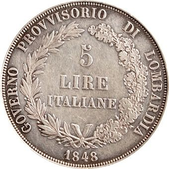 Italy - Lombardy Provisional Government - 5 Lire 1848  - 銀
