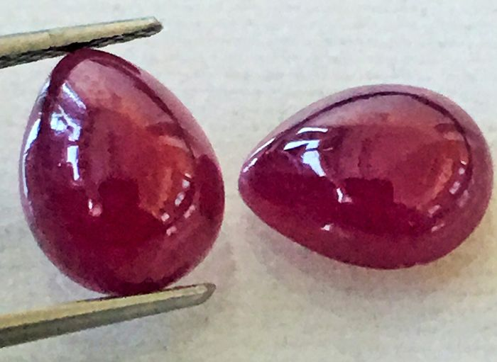 2 pcs Red Ruby - 5.57 ct