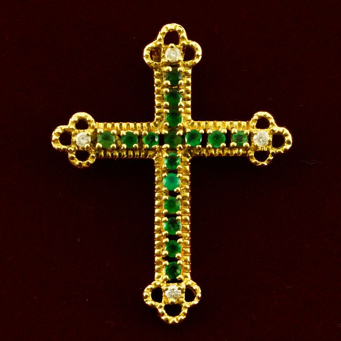 18 kt. Yellow gold - Pendant - 0.60 ct Emerald - Diamonds
