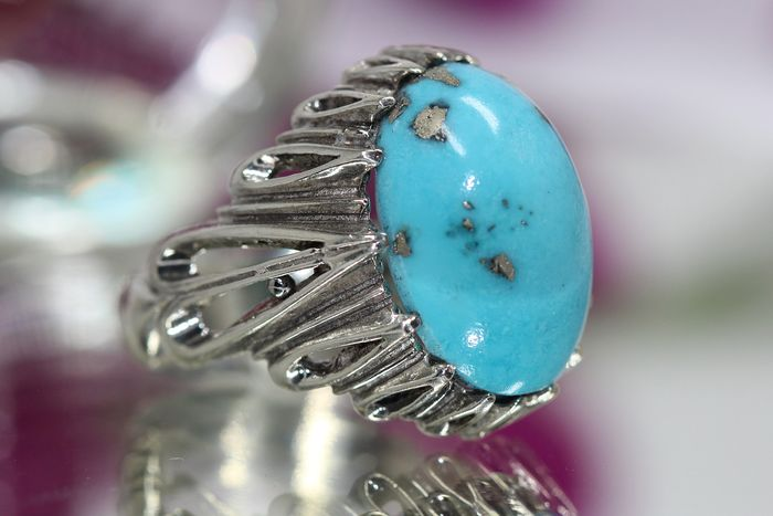 925 Silver - Ring - 15.00 ct turquoise