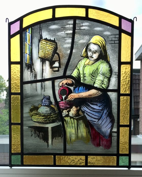 """window hanger """"the milkmaid after Johannes Vermeer"""" - stained glass"""