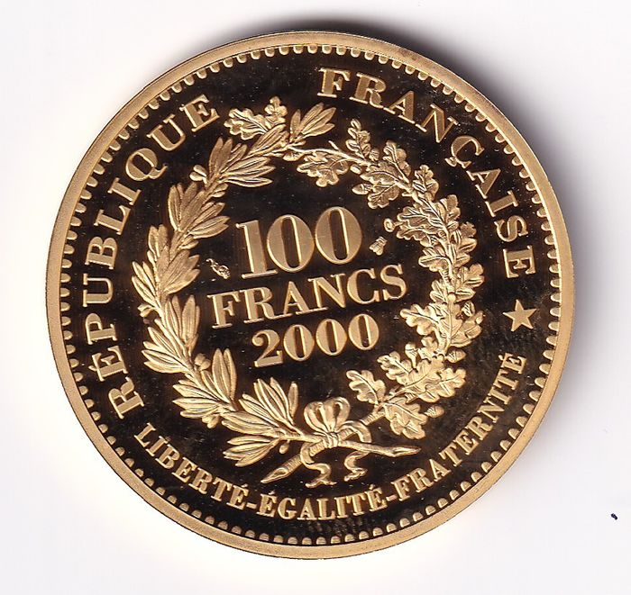 France - 100 Francs 2000 Marianne - Or