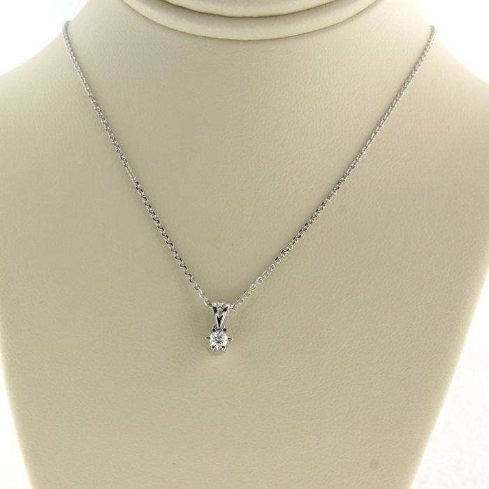 14 kt. White gold - Necklace with pendant - 0.10 ct Diamond