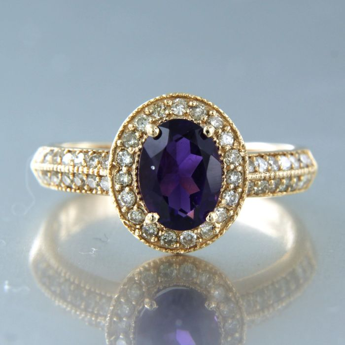 14 kt. Pink gold - Ring - 1.30 ct Amethyst - Diamond