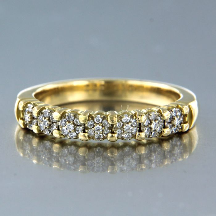 18 kt. White gold, Yellow gold - Ring - 0.25 ct Diamond