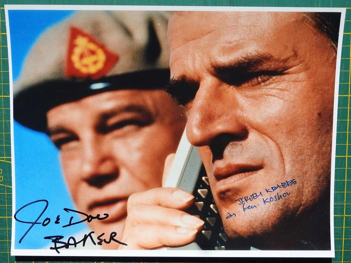 "James Bond - 007 - Bond Villains - Joe Don Baker & Jeroen Krabbe in ""The Living Daylights""  - double signed photo with COA"