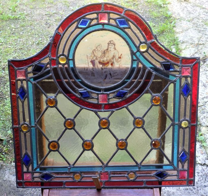 Attached glass window with work and image of medieval venter - Glass, Lead