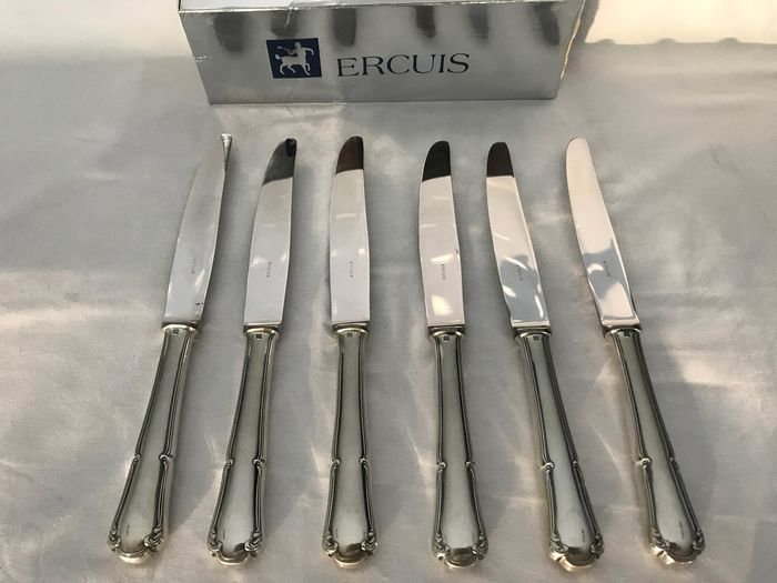 ERCUIS  - Dinner knives (6) - Silver plated
