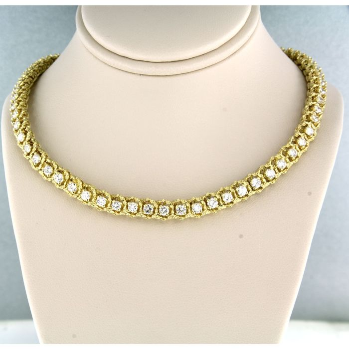18 kt. Yellow gold - Necklace - 6.50 ct Diamond