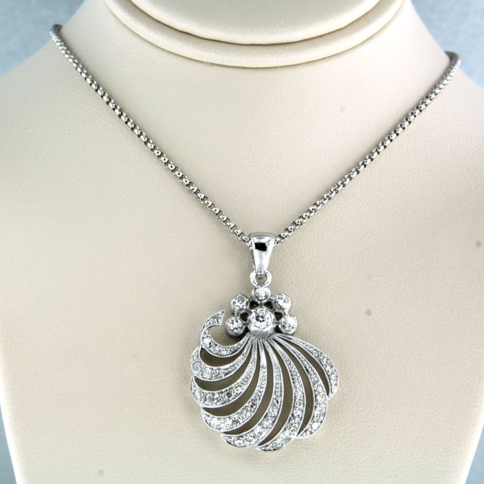 14 kt. White gold - Necklace with pendant - 0.50 ct Diamond