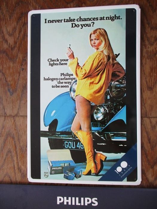 Jubilee 100 years of automotive lighting - PHILIPS automotive Pin-up Girl - tin plate [ca.48/30cm] - - 2014