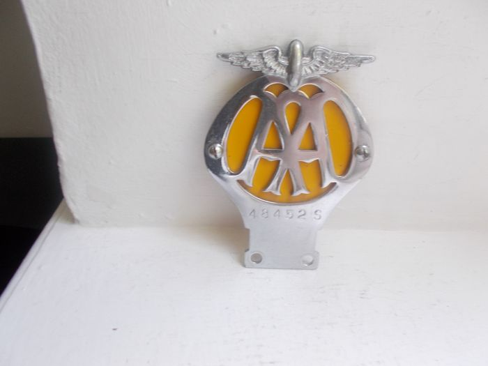 Badge - Vintage early Flat  AA Motorcycle chrome badge unrestored  - 1946-1956