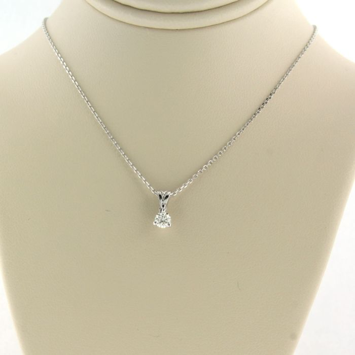 14 kt. White gold - Necklace with pendant - 0.08 ct Diamond