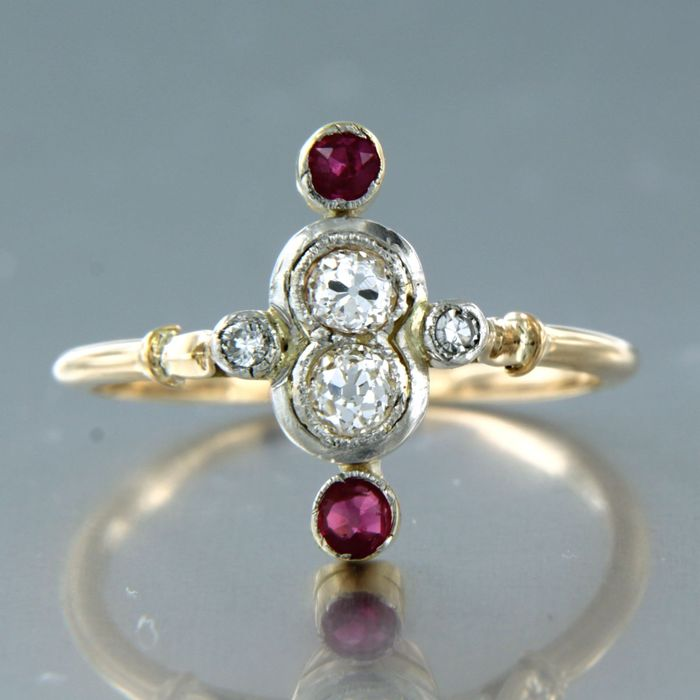 18 kt. Pink gold, White gold - Ring - 0.25 ct Diamond - Ruby