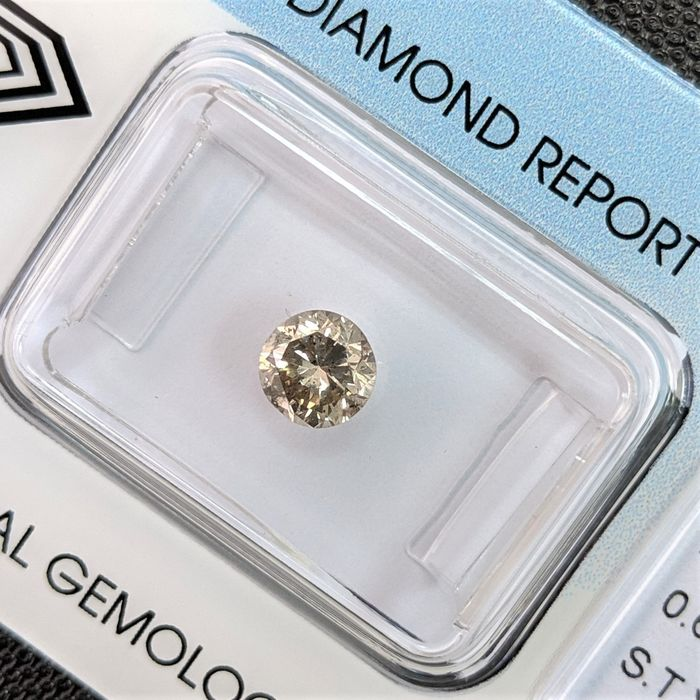 Diamond - 0.67 ct - Brilliant - Yellowish Grey - I1, IGI Antwerp - No Reserve Price