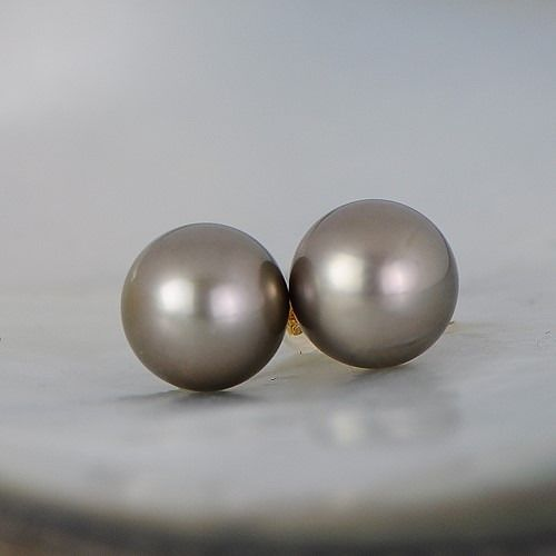 18 kt. Yellow gold - 11.6 mm Tahiti pearl stud earrings