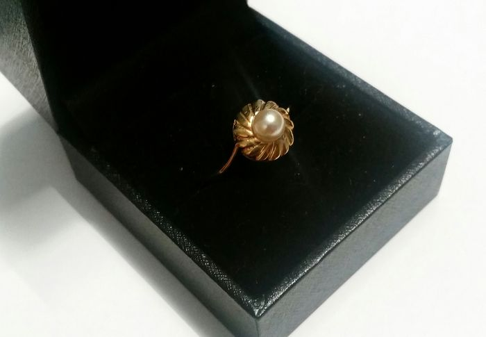 14 kt Yellow gold - Ring - 0.28 ct Pearl