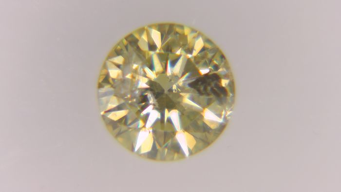 1 pcs Diamond - 0.24 ct - Round - fancy vivid brownish yellow - I2, No Reserve Price!
