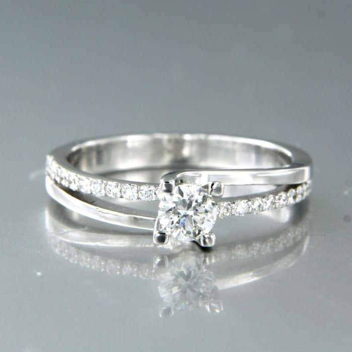 18 kt. White gold - Ring - 0.48 ct Diamond