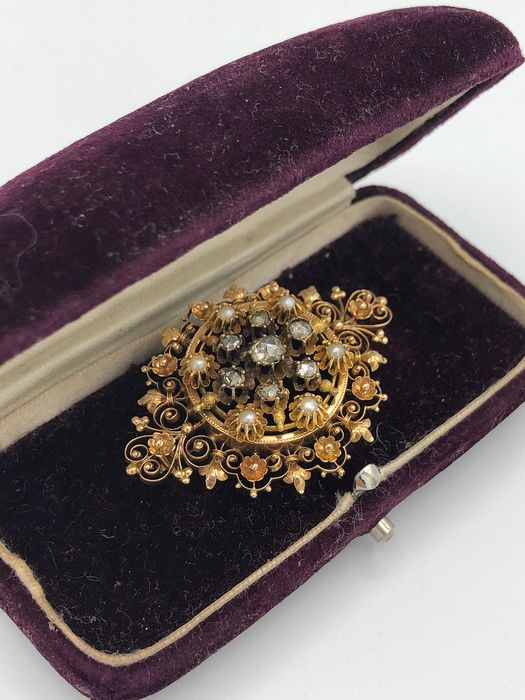 14 kt. Gold - Brooch - 0.20 ct Diamond - Diamond