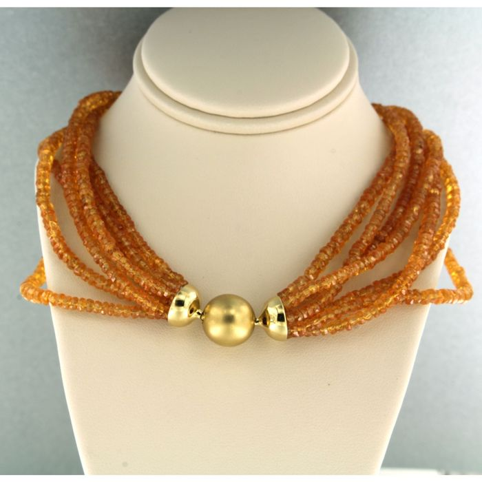 18kt gold clasp - Necklace Citrine