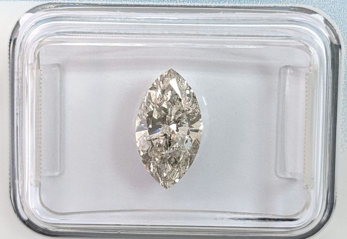 Diamond - 1.31 ct - Marquise - K - I1, IGI Antwerp - No Reserve Price