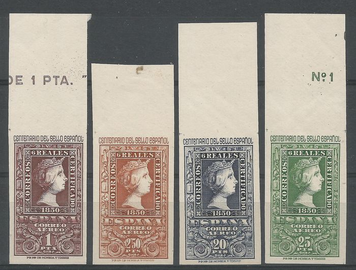 Spanje 1950 - Centennial of the stamp. Airmail. Key values with Comex certificate - Edifil 1079/82