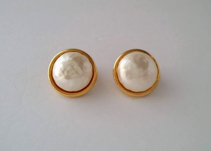 Dominique Aurientis Gold-plated - Simulated Pearl Clip On Earrings