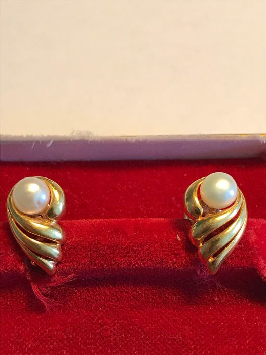 18 kt. Yellow gold, Saltwater pearls - Earrings