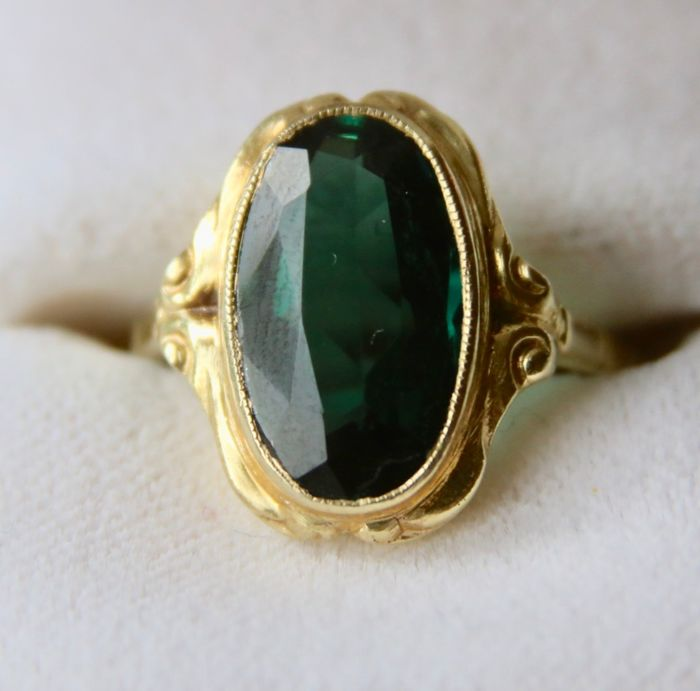 935 First grade silver, Yellow gold - Ca. 1920 Art Nouveau handcrafted  - 4.65 ct Tourmaline coloured Spinel - Germany