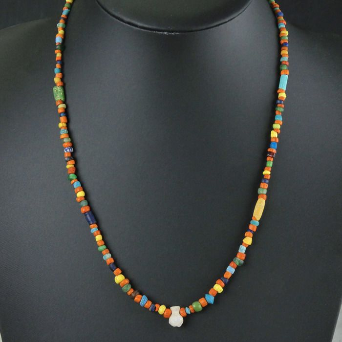 Ancient Roman Glass Necklace with multicoloured glass and amulet beads - (1)