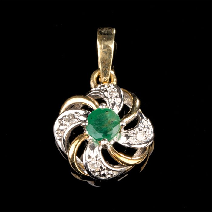 Kein Mindestpreis - 14 kt. White gold, Yellow gold - Pendant - 0.25 ct Emerald - Diamonds