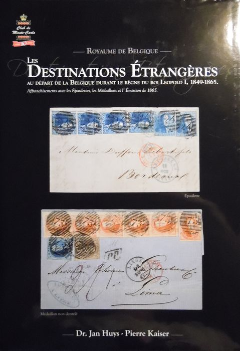 Belgium 1849/1865 - Luxury bookwork, Monacophil foreign destinations