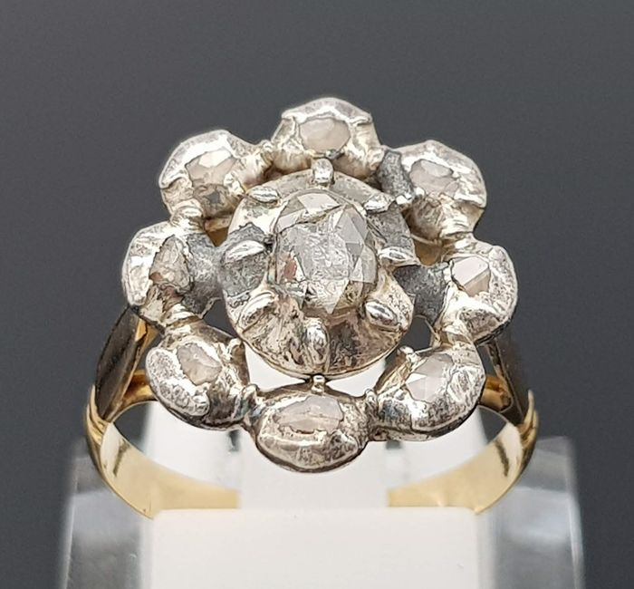 18 kt yellow gold, silver - ring - 0.58 ct diamond