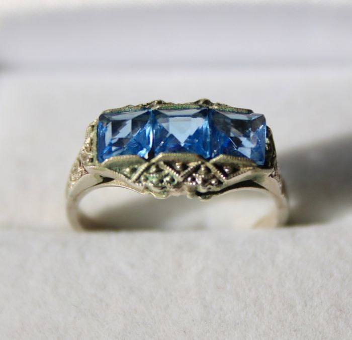 800 Silver - ca. 1920-'30 Art Deco Ring - 1.20 ct Blue Spinel