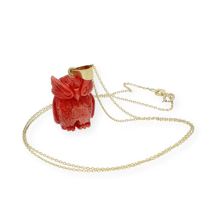 18 kt. Gold, Yellow gold - Necklace with pendant Natural Coral of the Pacific