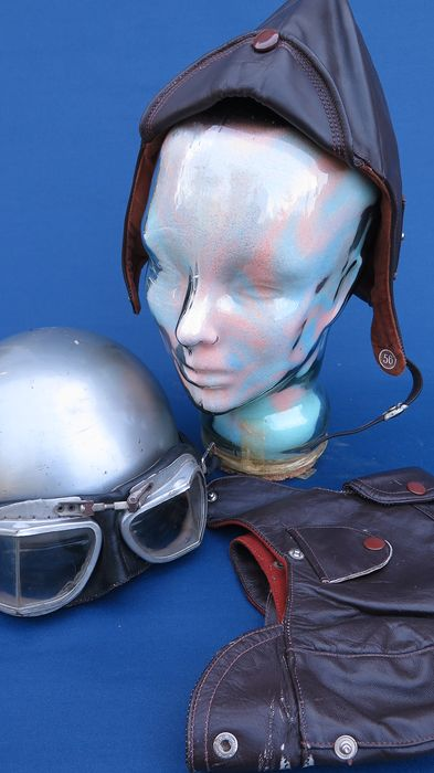 helmet, 2 leather helmets and motorcycle glasses - Eurocap en andere - Eurocap Tour - 1960