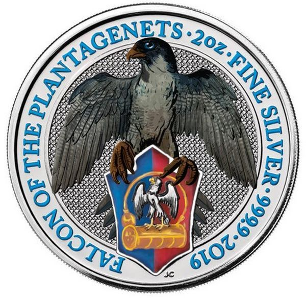 United Kingdom - 5 Pounds 2019 Falcon of the Plantagenets - The Queen's Beasts - Colored 2 oz  - Silver