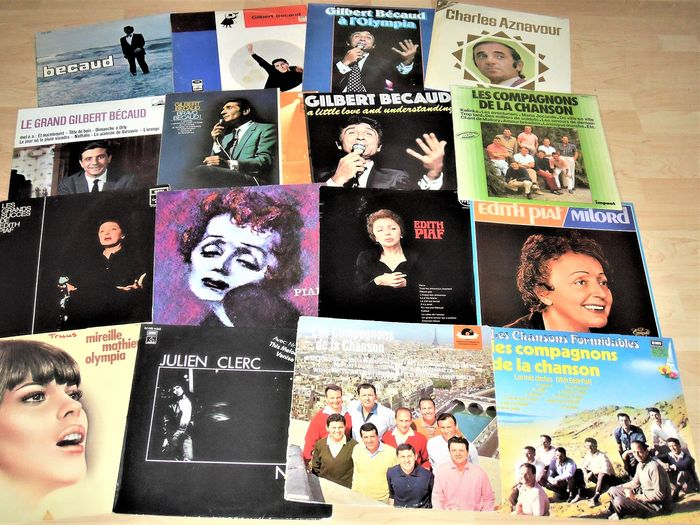 Charles Aznavour, Edith Piaf, Various Artists/Bands in French/Chanson - Multiple artists - Gilbert Becaud - Multiple titles - LP's - 1961/1975