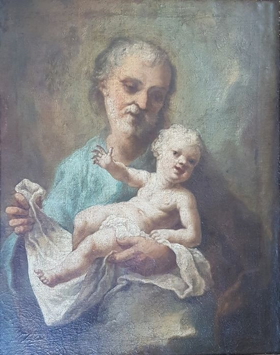Italian School - St Joseph and the Christ child