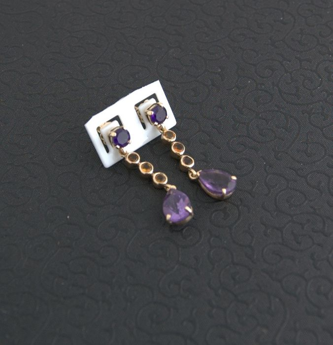 14 kt. Yellow gold - Earrings - 4.20 ct Amethyst - Citrine