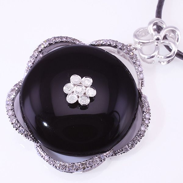 18 kt. White gold - Pendant Diamond - Black Onyx