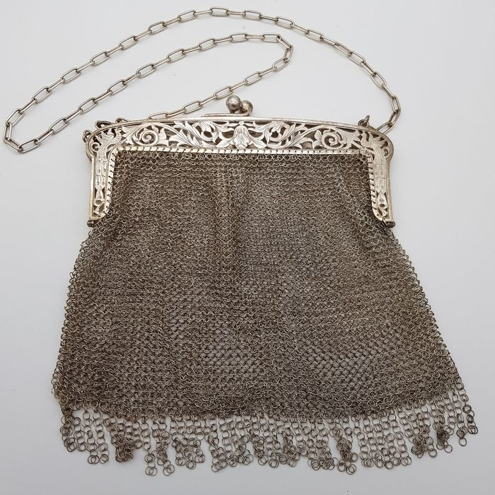 Silver mesh bag - .800 silver - Spain - Early 20th century