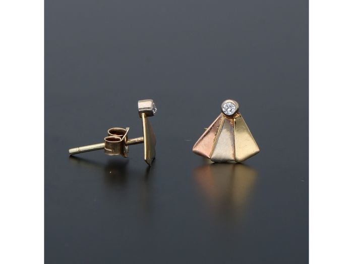14 kt. Pink gold, Tricolour, White gold, Yellow gold - Earrings - 0.02 ct Diamond