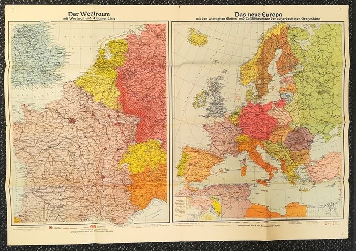 Germany - History Third Reich Map 107 x 72 cm Fleet and air ...