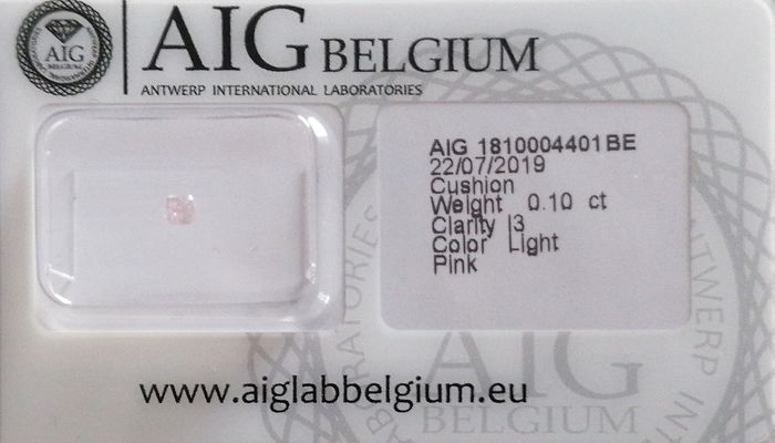 Diamond - 0.10 ct - Cushion - light pink - I3 (piqué)