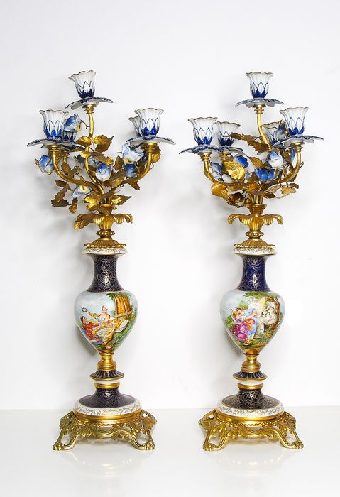Candelabra, Couple - Sevres Style Porcelain - Louis XV Style