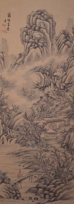 Hanging scroll - Paper - Landscape - With signature and seal 'Ritsuzan' 栗山 - Japan - Late 19th century