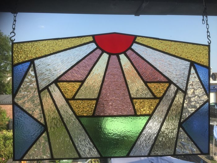 Glass object, Sun rays in Art Deco style - Stained glass